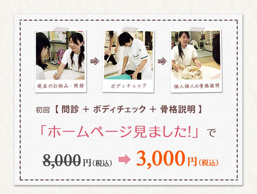 初回【 問診 + ボディチェック + 骨格説明 】、「ホームページ見ました!」で、8000円が3000円に